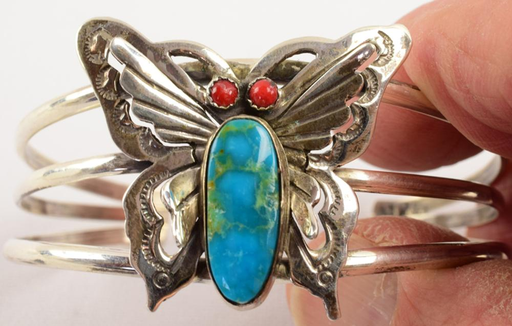 Navajo Sterling Butterfly Cuff w/Turquoise & Coral