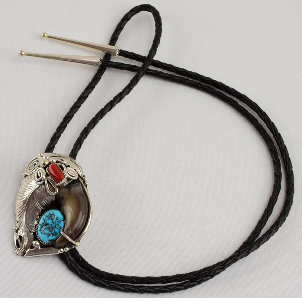 Navajo Sterling Bear Claw Bolo Tie w/Turquoise & Coral
