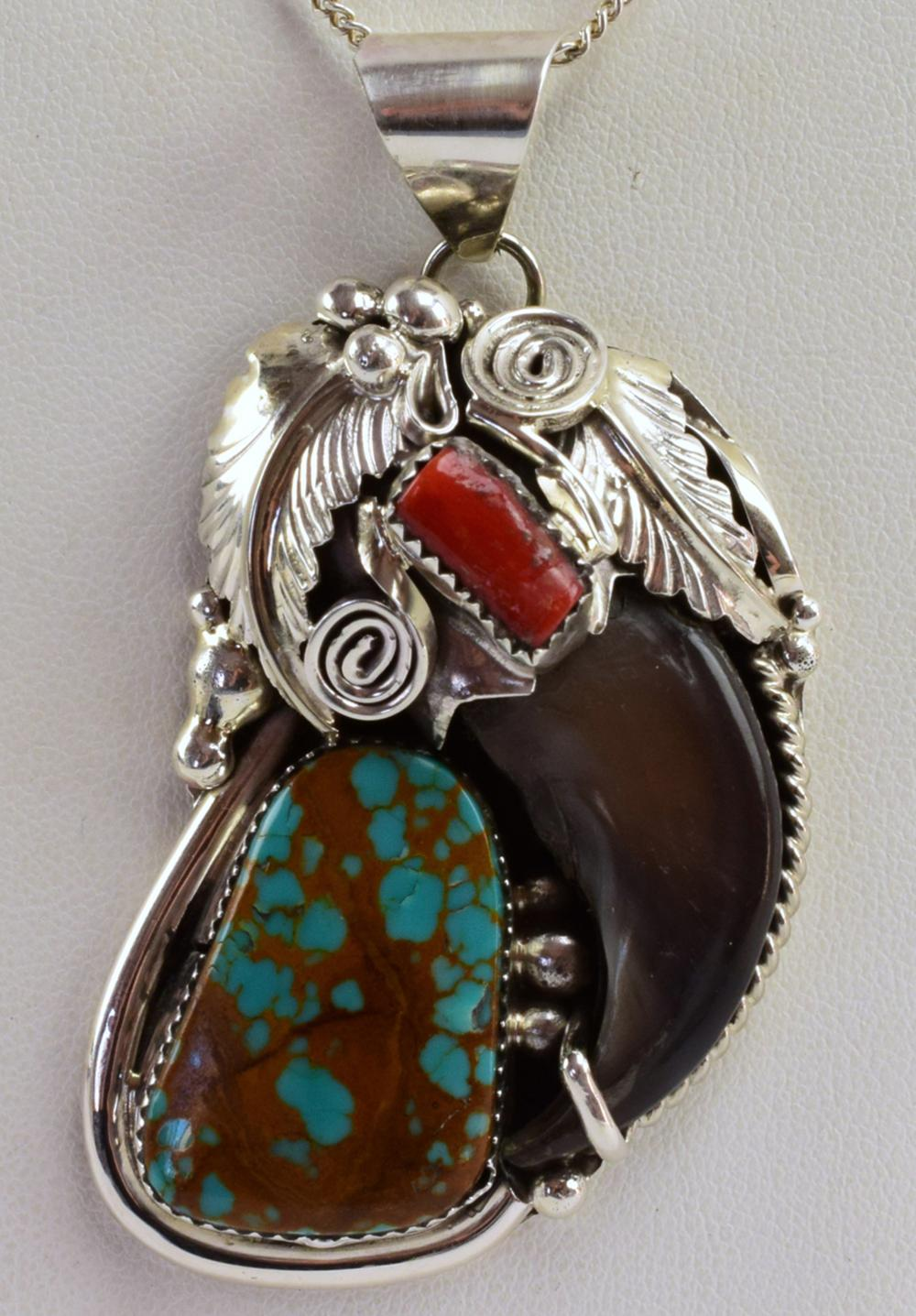 Navajo Sterling Bear Claw Pendant w/Turquoise & Coral