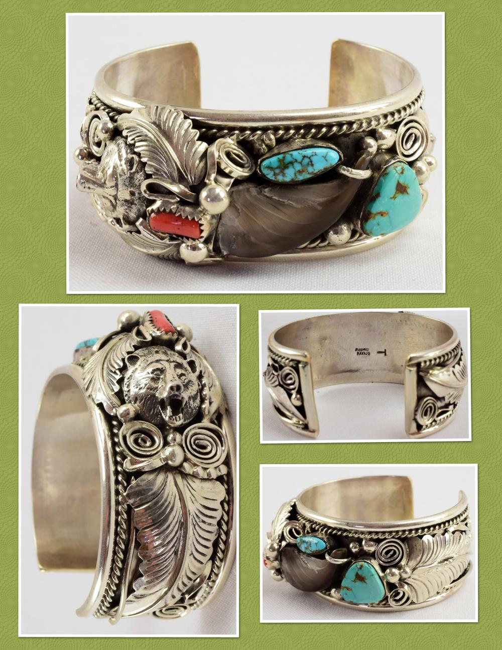 Navajo Sterling Bear Claw and Bear Head Ornate Bracelet