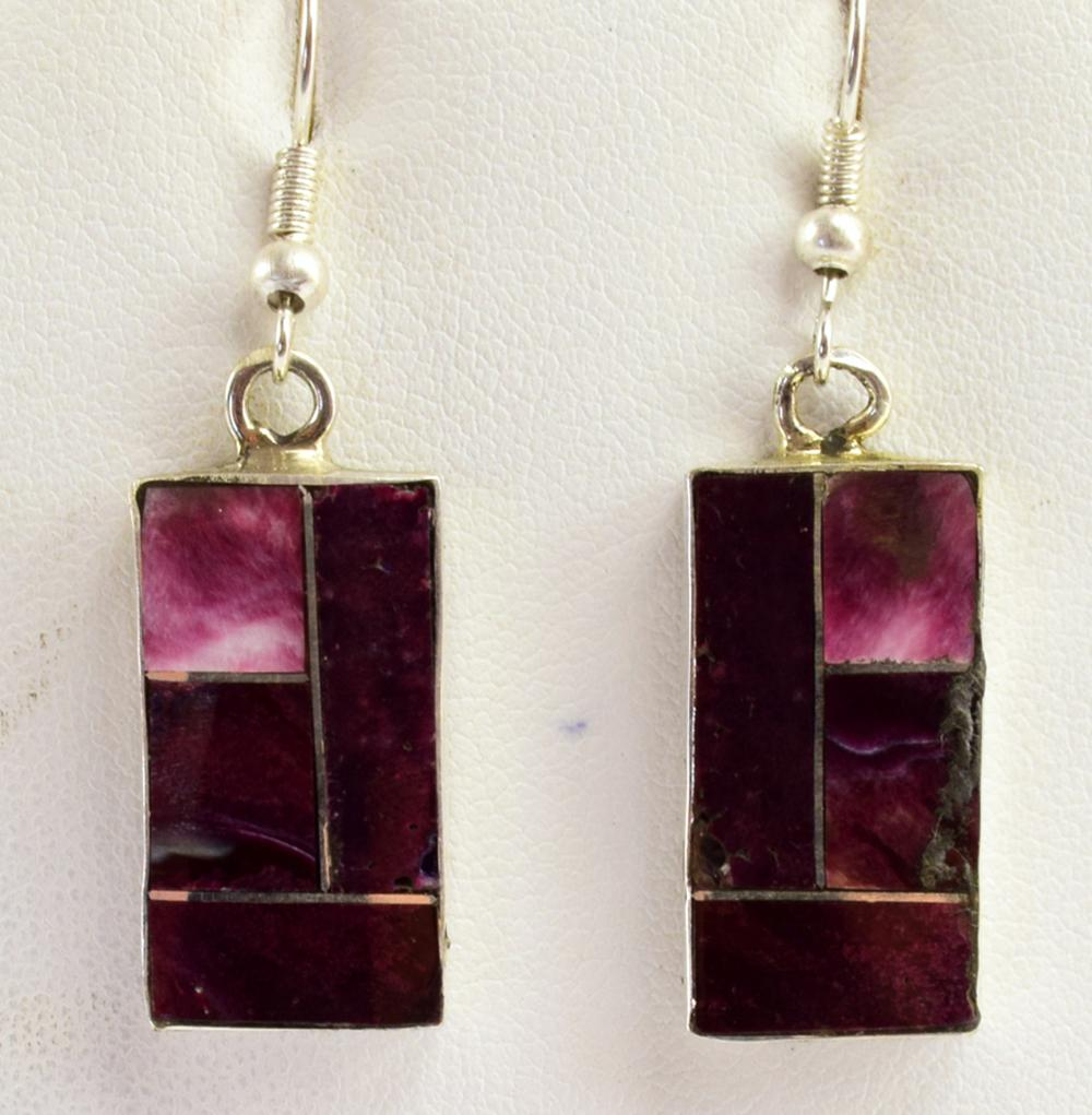 Navajo Sterling Purple Spiny Oyster inlay Earrings