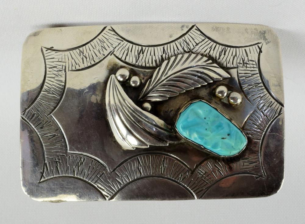 Navajo Vintage Sterling Silver Belt Buckle w/Turquoise