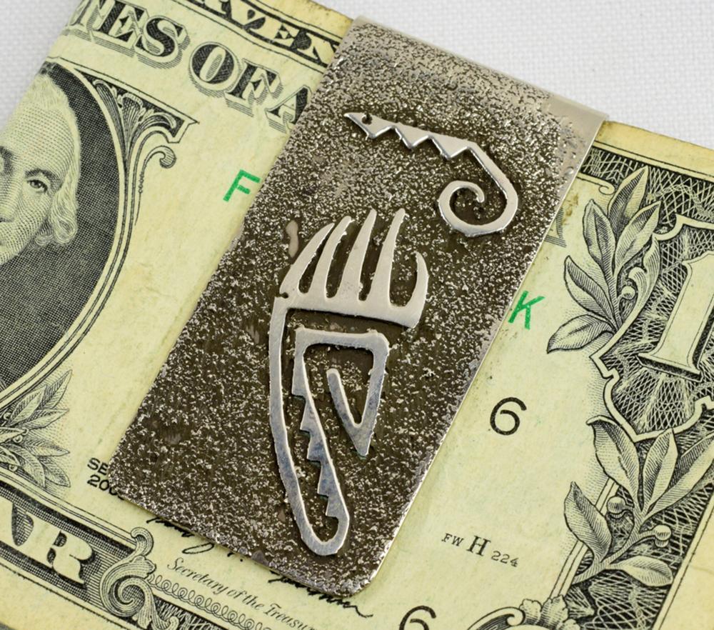 Native American Tufa Cast Sterling  Bear Paw Money Clip