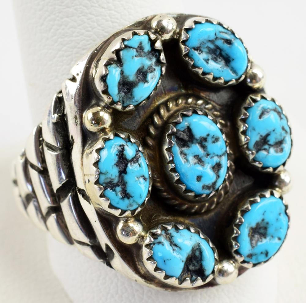 Navajo Sterling Turquoise Nugget Men's Ring-T. Hasteen
