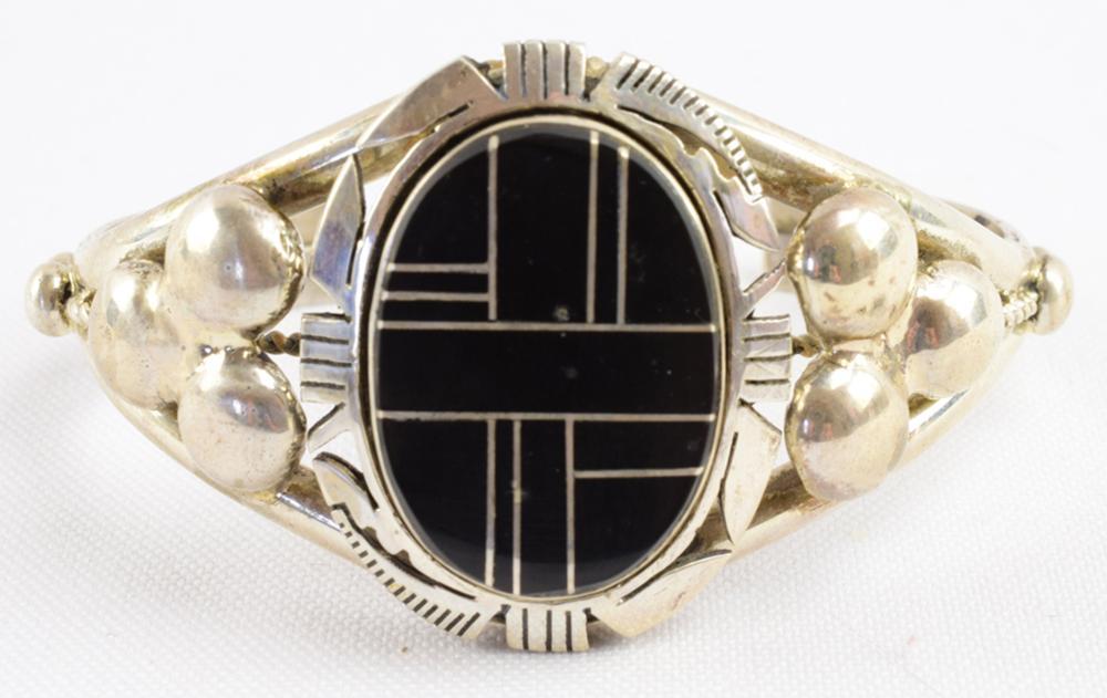 Navajo Sterling Silver Black Onyx Inaly Cuff Bracelet