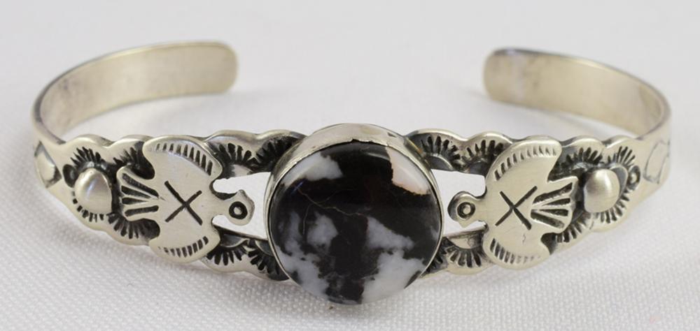 Lorenzo James Sterling White Buffalo Turquoise Bracelet
