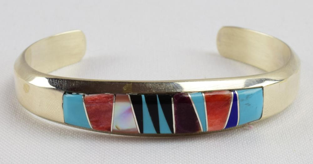 Navajo Sterling Silver Multi-Stone Inlay Cuff Bracelet