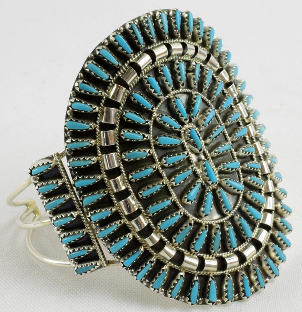 Navajo Sterling Needlepoint Block Turquoise Bracelet