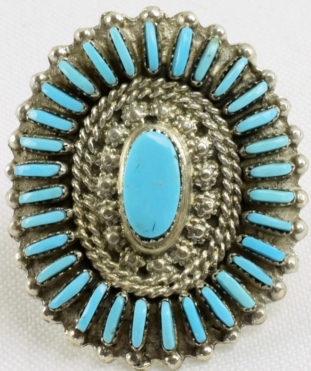 Zuni Sterling Silver Needlepoint Ring