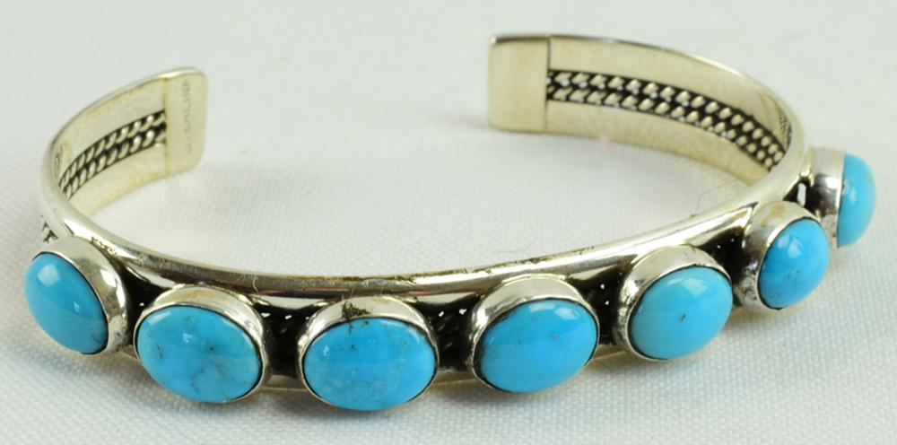 Navajo Sterling  Sleeping Beauty Turquoise Bracelet