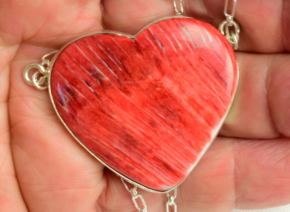 Navajo Sterling Large Spiny Oyster Heart Necklace