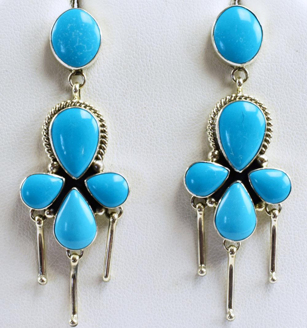 Navajo Sterling Silver Turquoise Earrings by C. Wylle