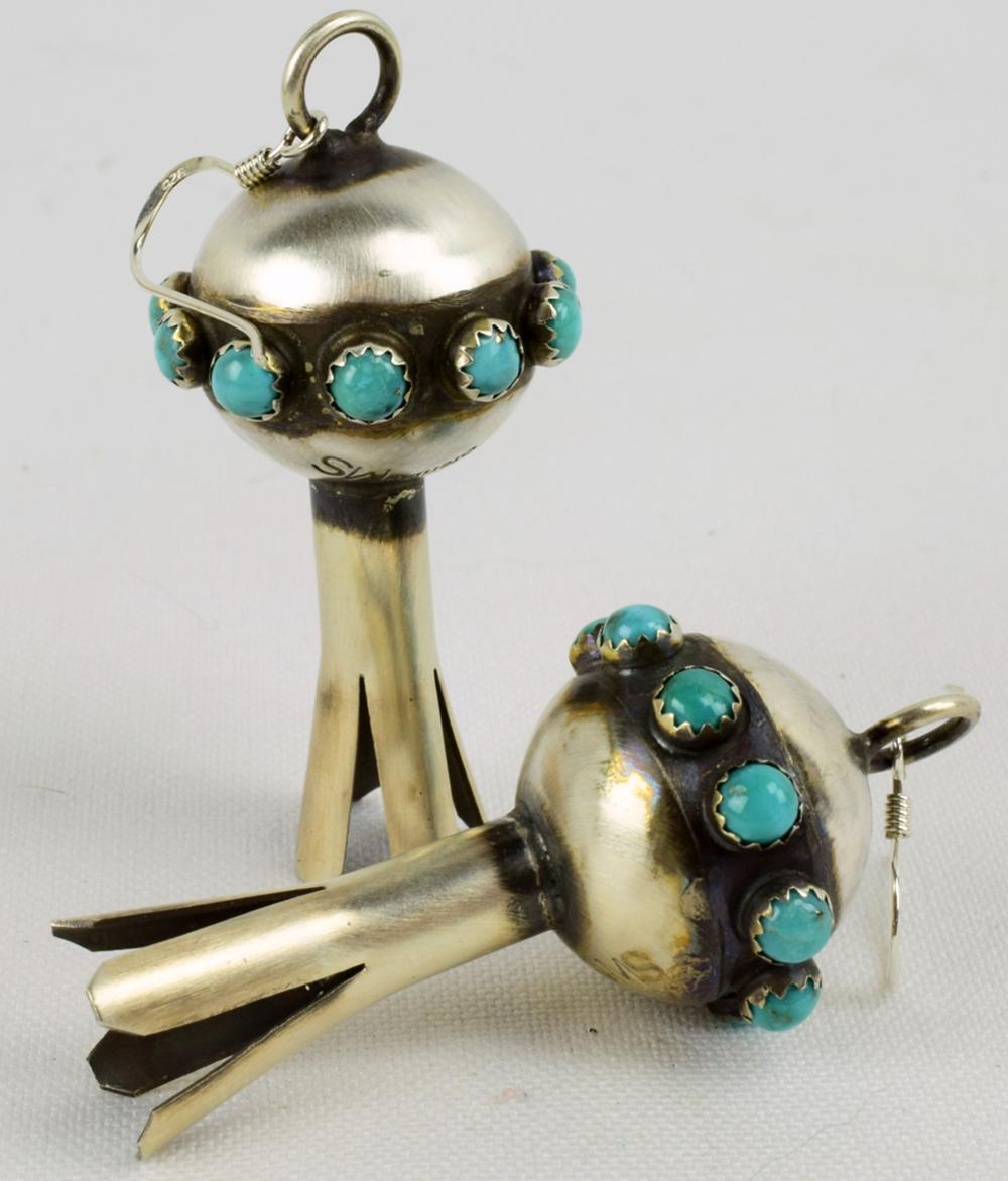 Navajo Sterling Squash Blossom Earrings w/Turquoise