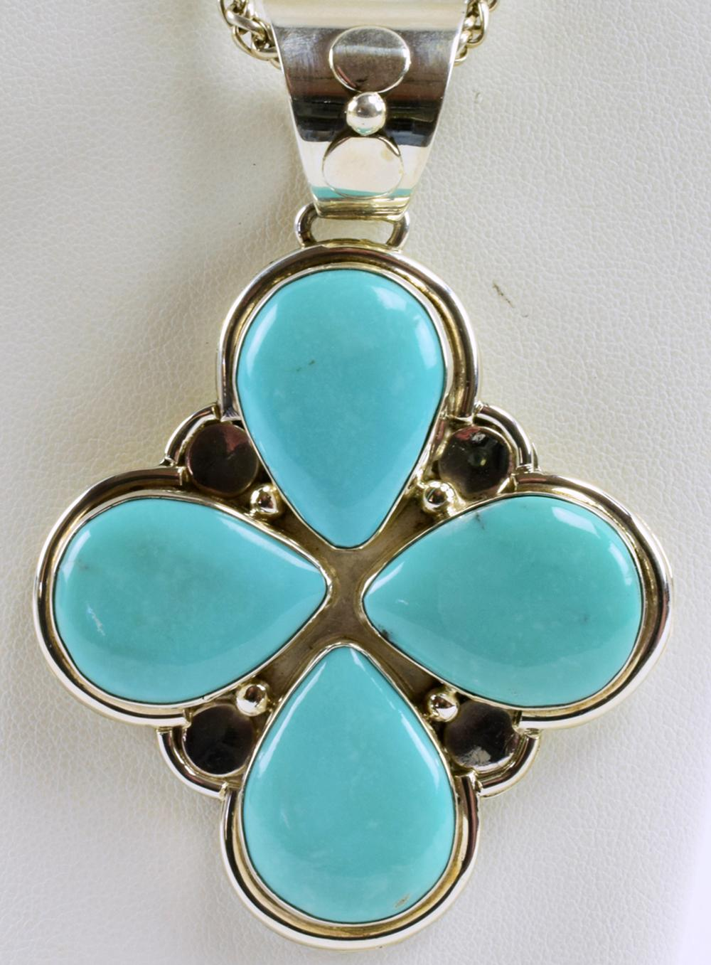 Native American Sterling Large Turquoise Clover Pendant