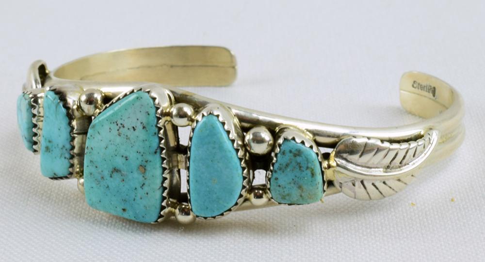 Navajo Sterling Silver Turquoise 5 Stone Bracelet