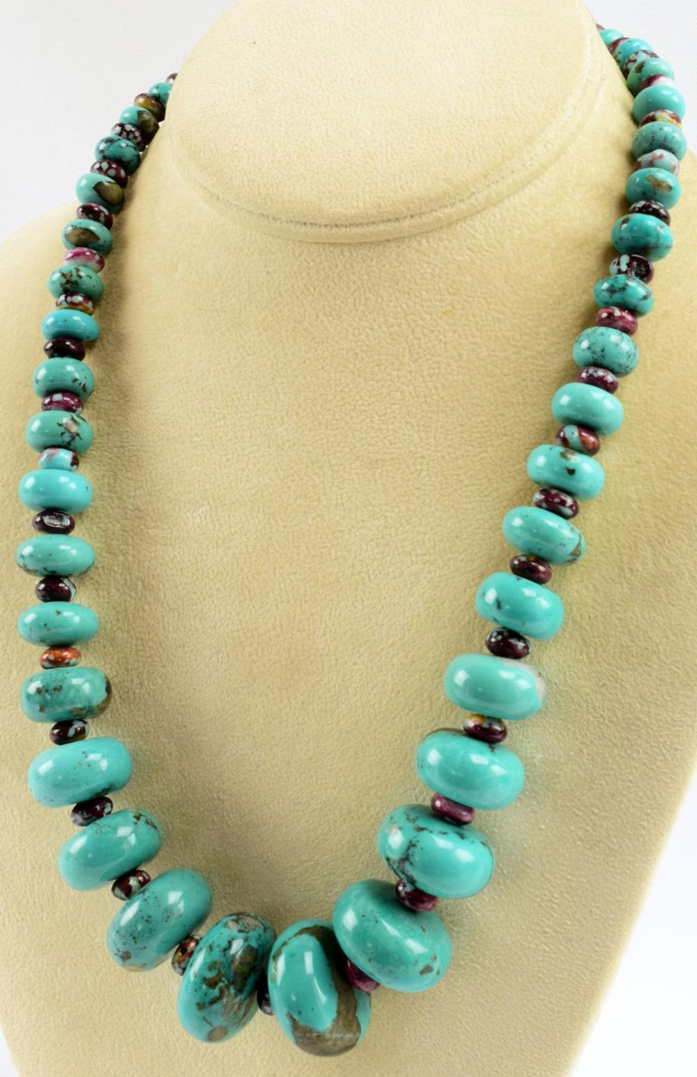 Navajo Vintage  Large Turquoise Abacus Bead Necklace