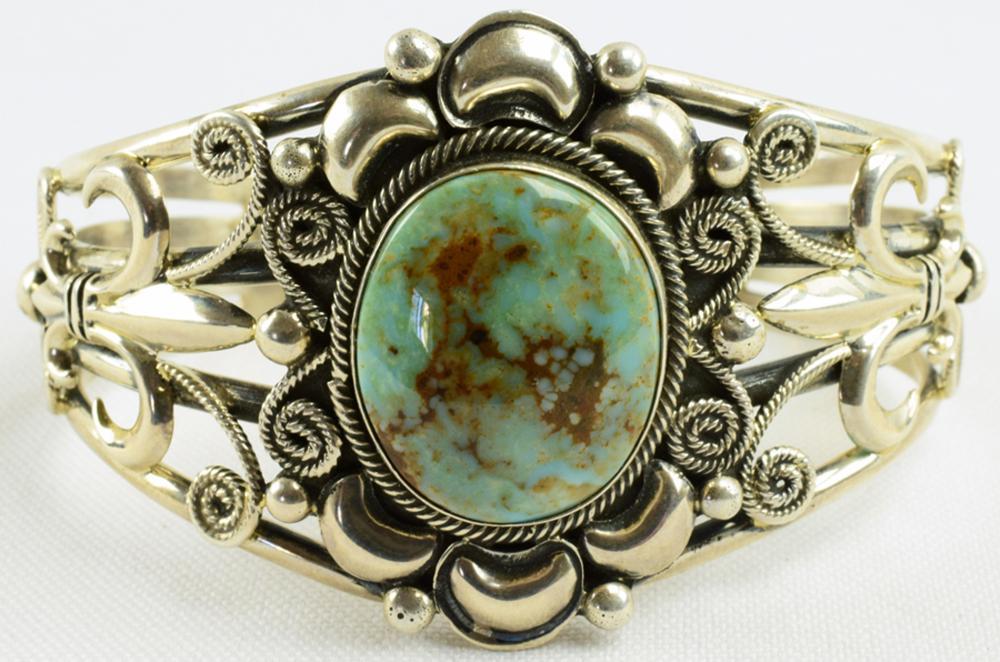 Lorenzo James Sterling Repousse Turquoise Bracelet