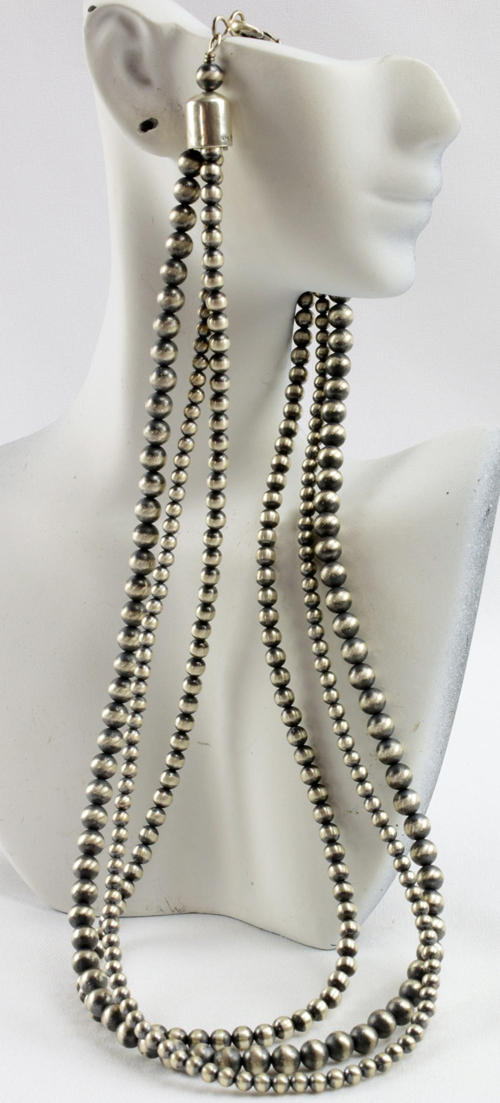 Navajo Sterling 3 Strand Bench Bead Necklace - 22 In.