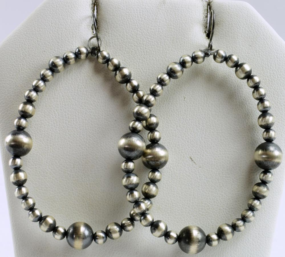 Navajo Sterling Bench Bead Hoop Earrings. J. Marino