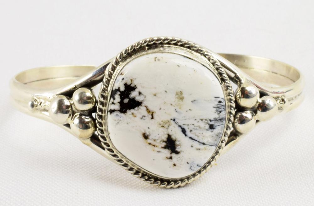 Marcella James Sterling White Buffalo Turquoise Bracele