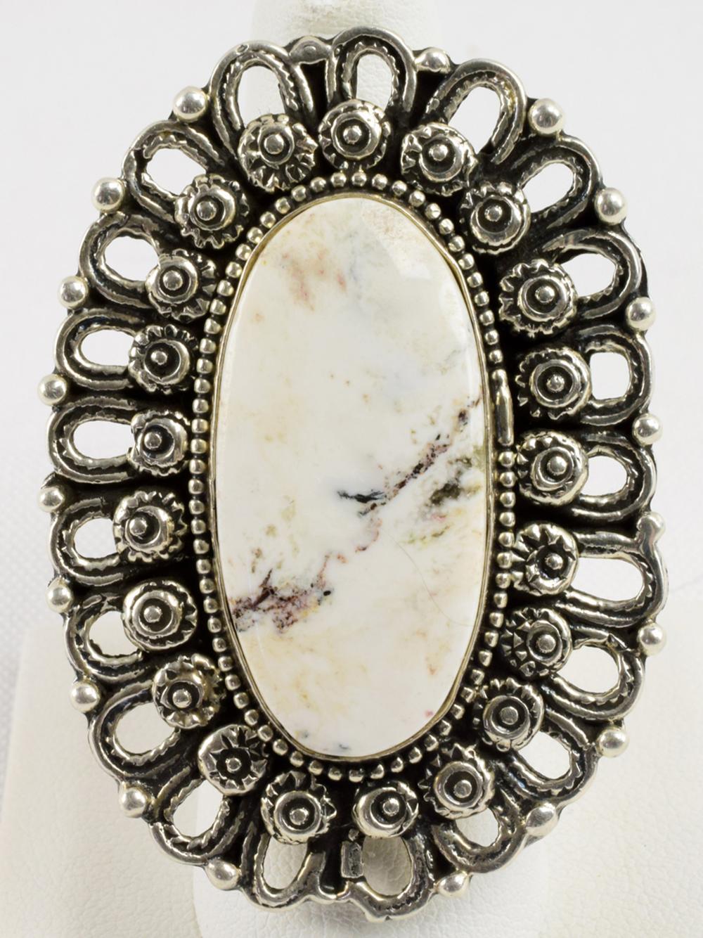 Lorenzo James Lg. Sterling White Buffalo Turquoise Ring