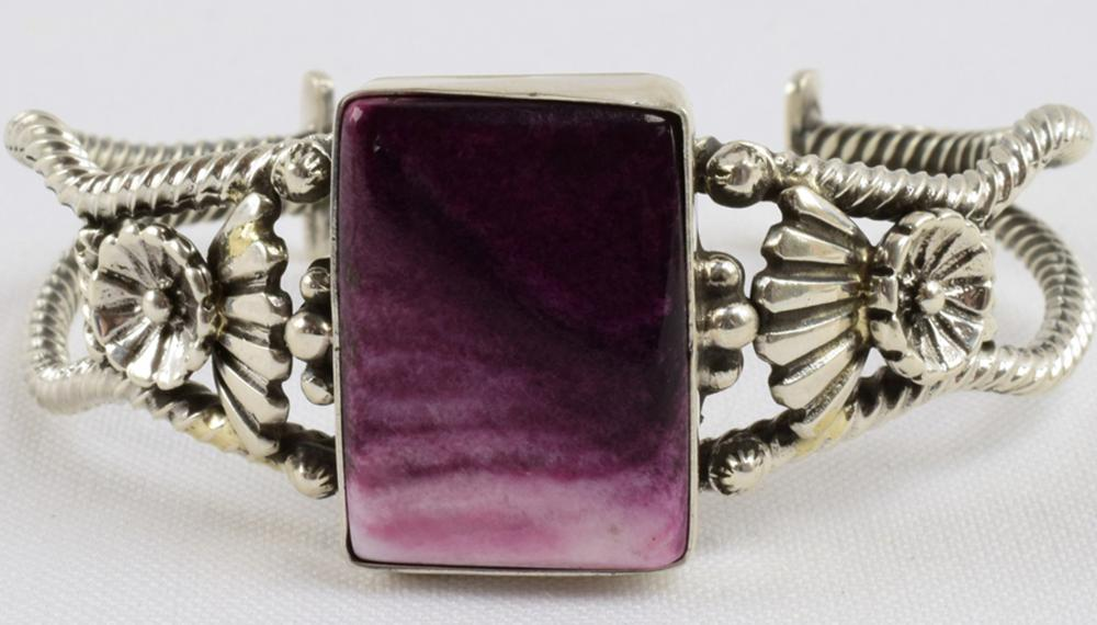 Navajo Sterling Purple Spiny Oyster Cuff - E. Richards