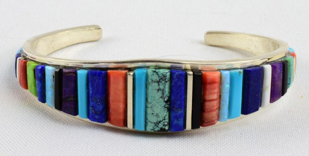Navajo Sterling Multi-Stone Cobblestone Inlay Bracelet