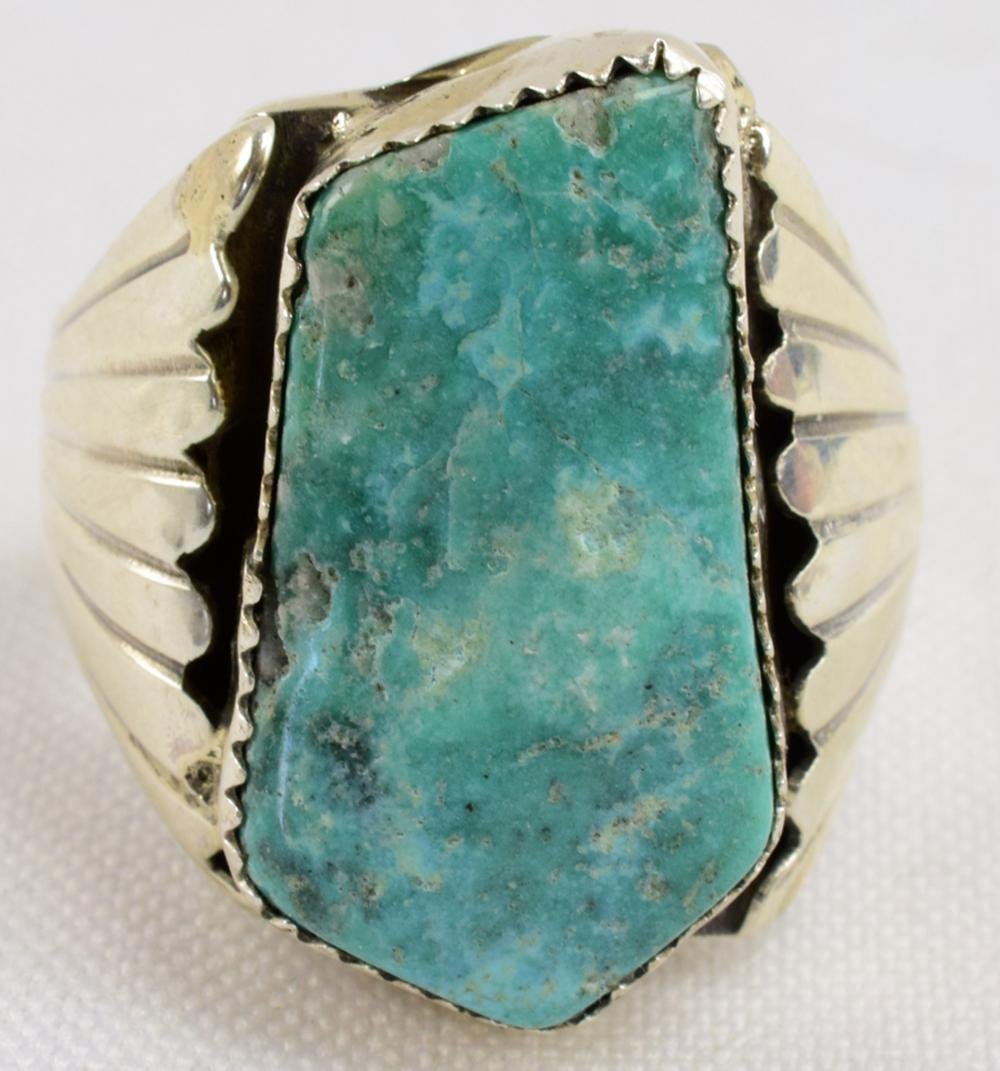 Native American Sterling Natural Turquoise Men's Ring