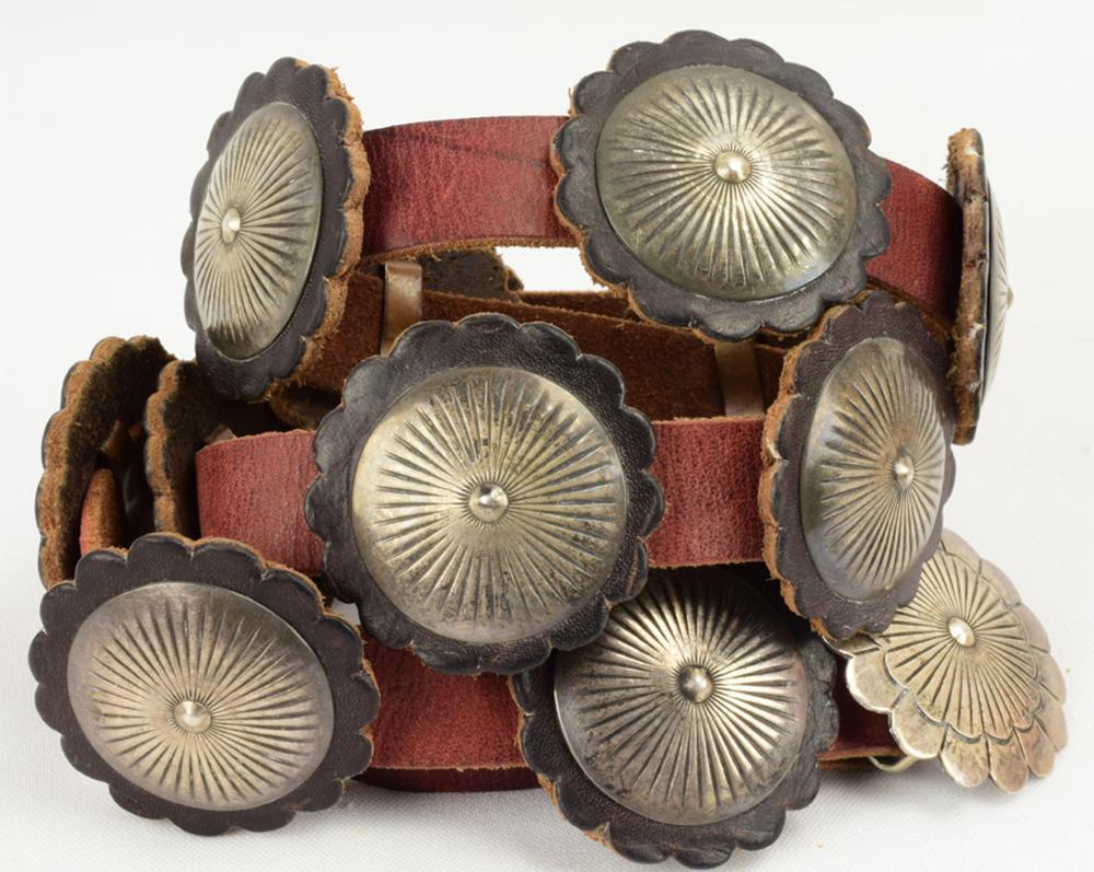 Navajo Vintage Sterling Leather Backed Concho Belt