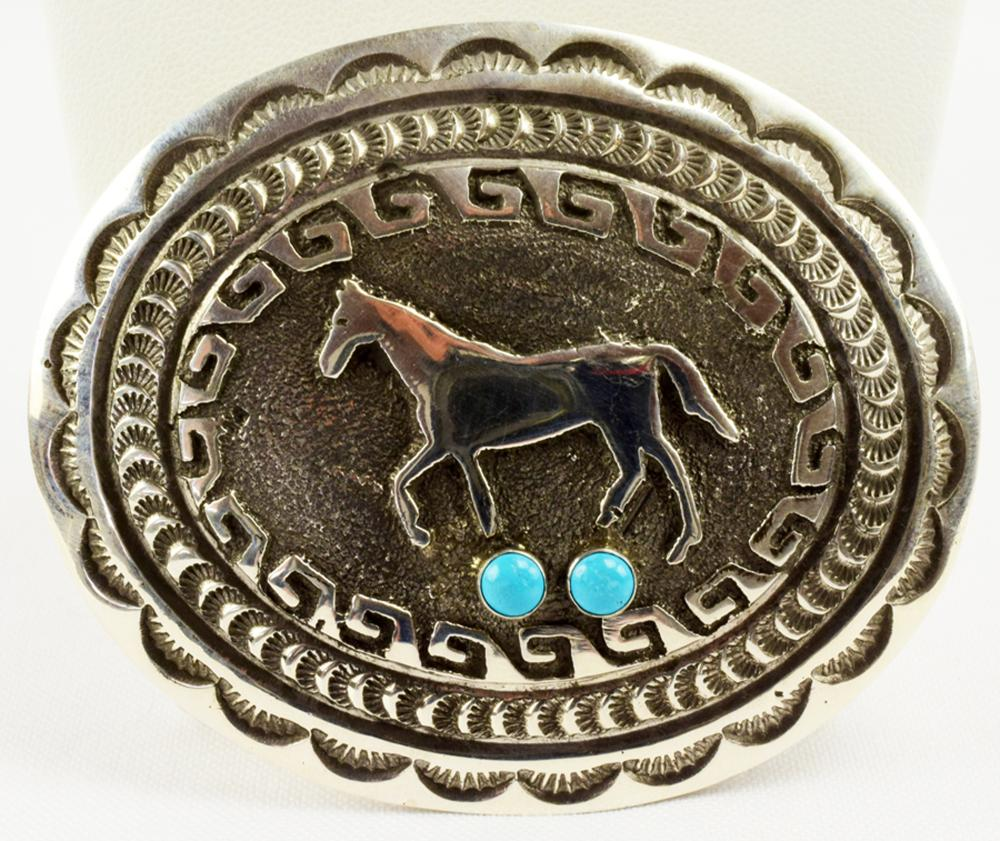 Navajo Sterling Silver Horse Belt Buckle w/Turquoise