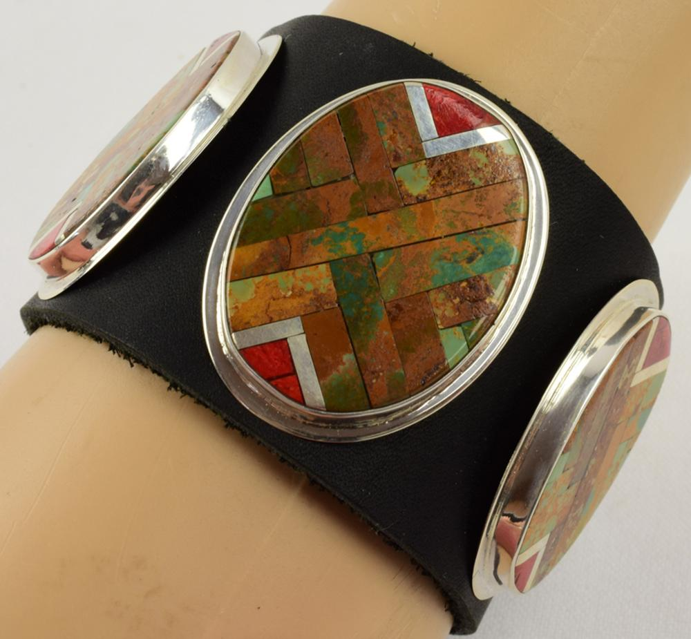 Navajo Sterling Multi-Stone Inlay Cuff w/Leather Strap