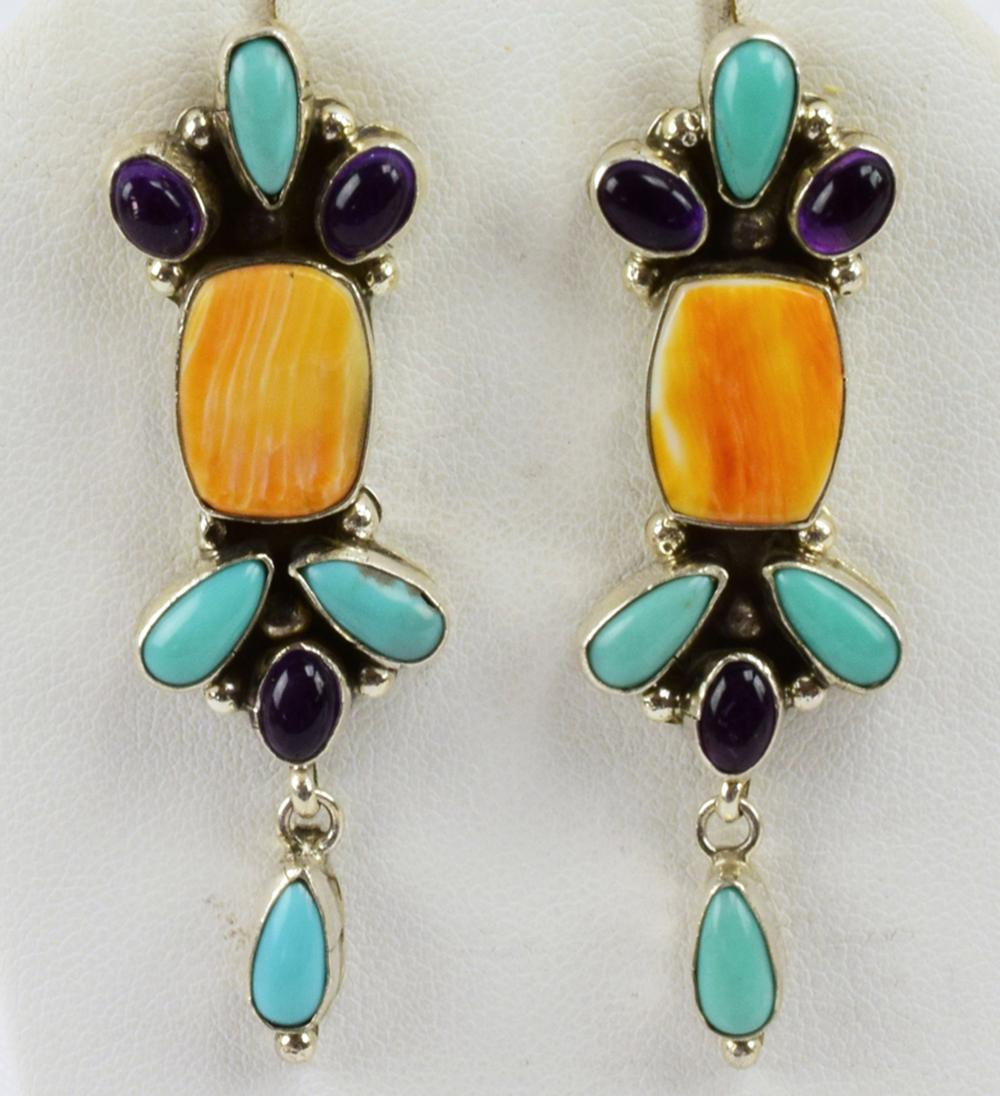 Navajo  Amethyst Turquoise & Spiny Oyster Earrings