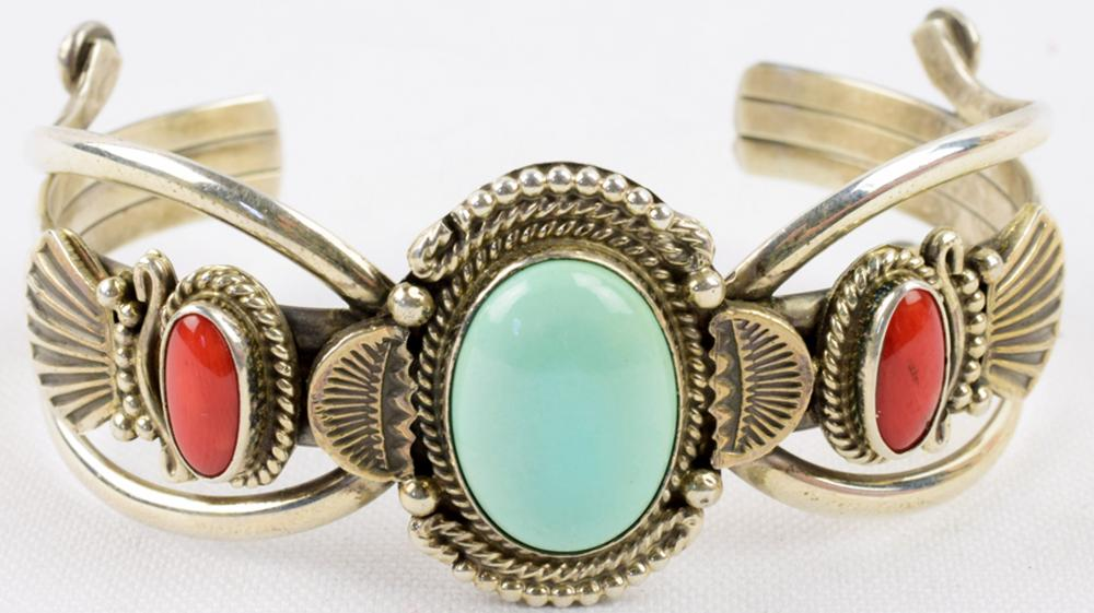 M. & R. Calladitto Sterling Turquoise & Coral Bracelet