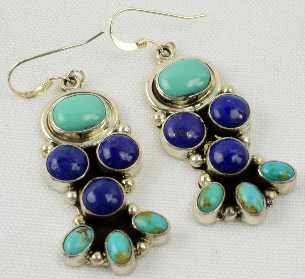 Navajo Sterling Turquoise/Lapis Earrings- D . Delgarito