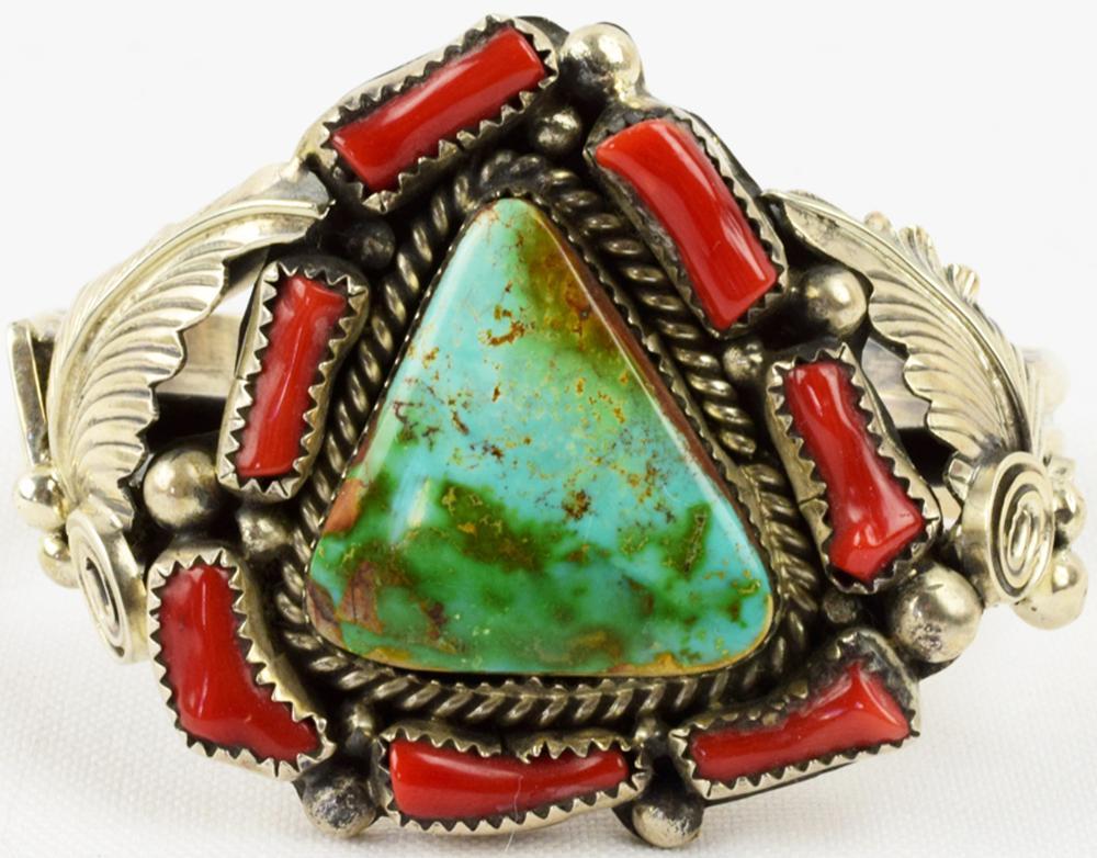 Navajo Vintage Sterling Turquoise & Coral Bracelet