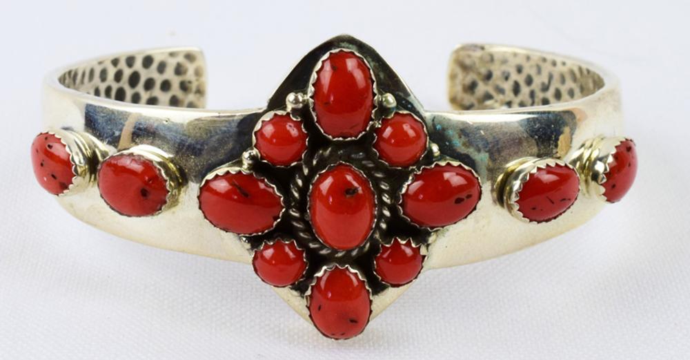 Native American Sterling Coral Cuff Bracelet
