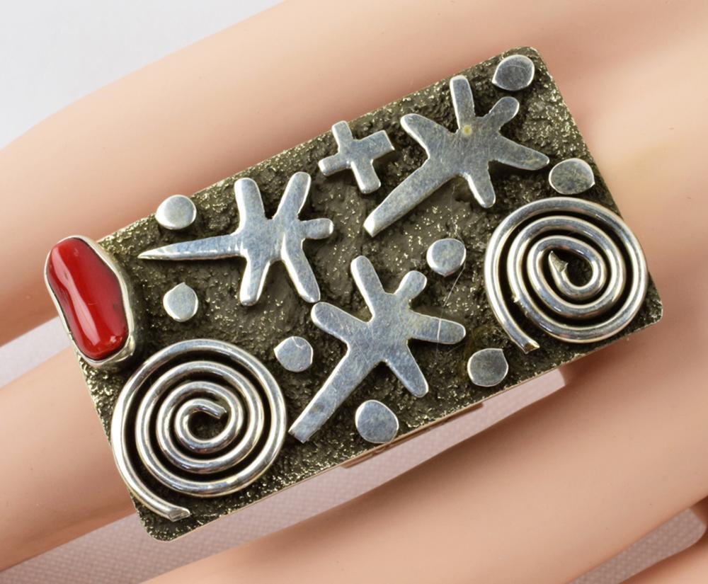 Alex Sanchez Sterling Petroglyph Ring w/Coral