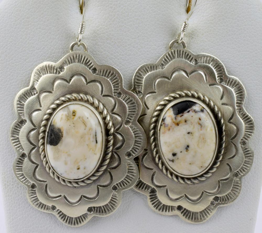 Navajo Sterling White Buffalo Turquise Earrings