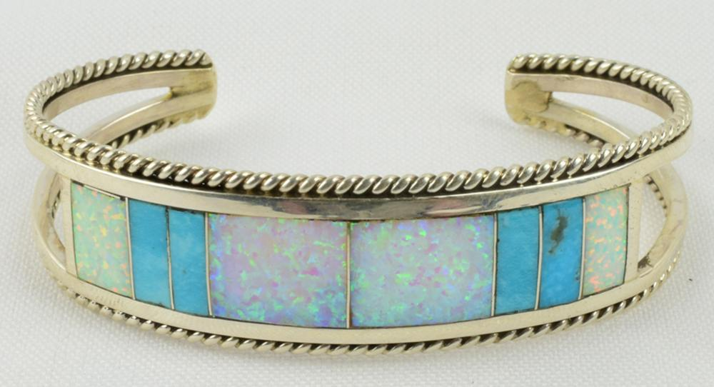Navajo Sterling  Turquoise and Opal Inlay Bracelet