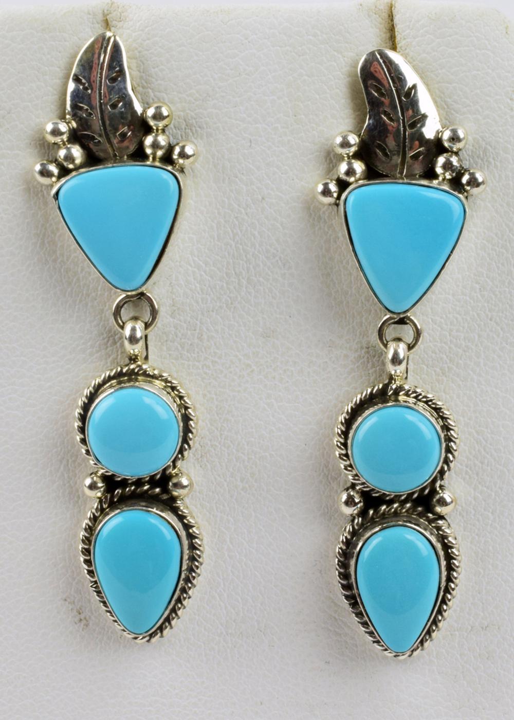 Navajo Sterling  Turquoise Earrings - C. Wylle