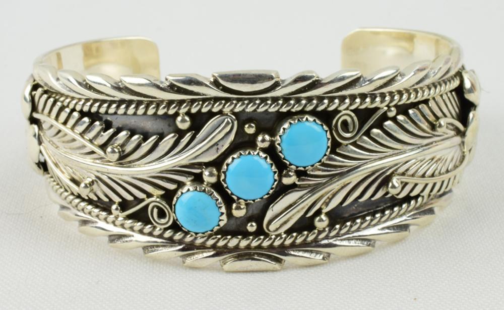 Navajo Sterling Silver Ornate Feather Bracelet w/Turq.
