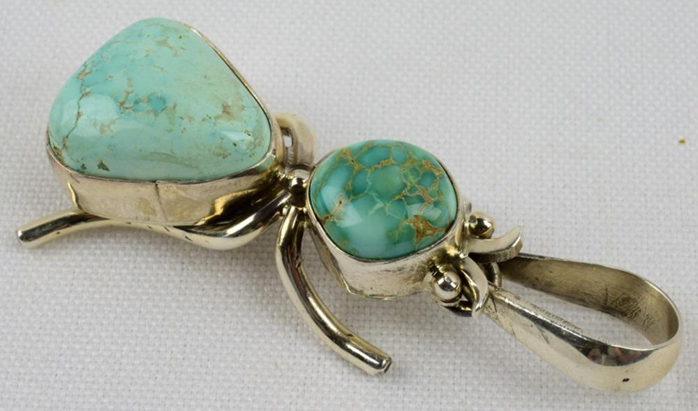 Navajo Sterling Turquoise Beetle Pendant-P. Livingston