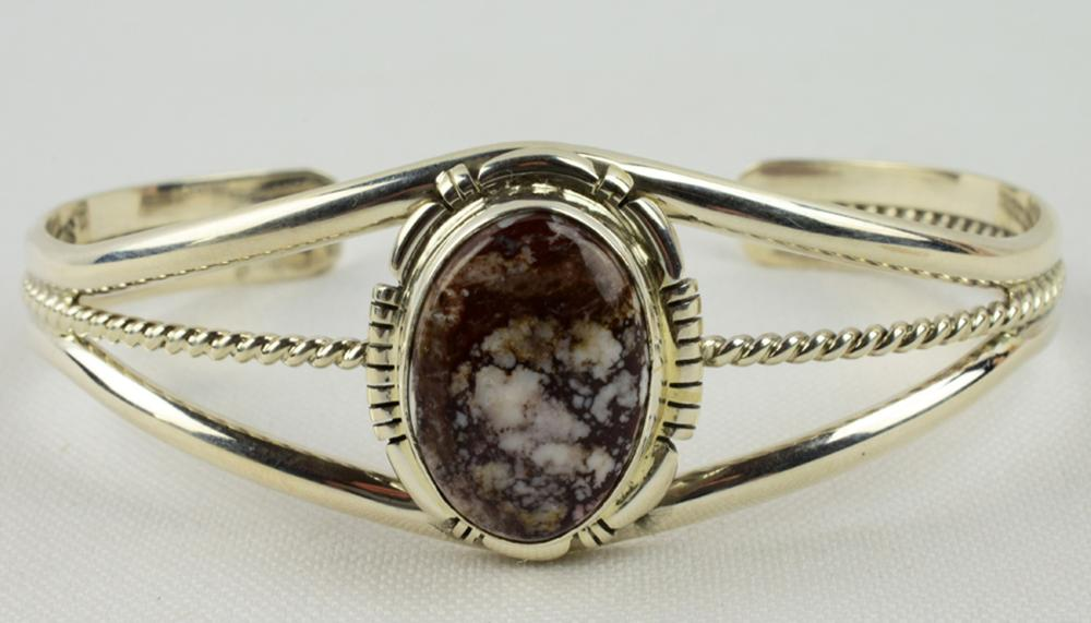 Navajo Sterling Wild Horse Turquoise Cuff Bracelet