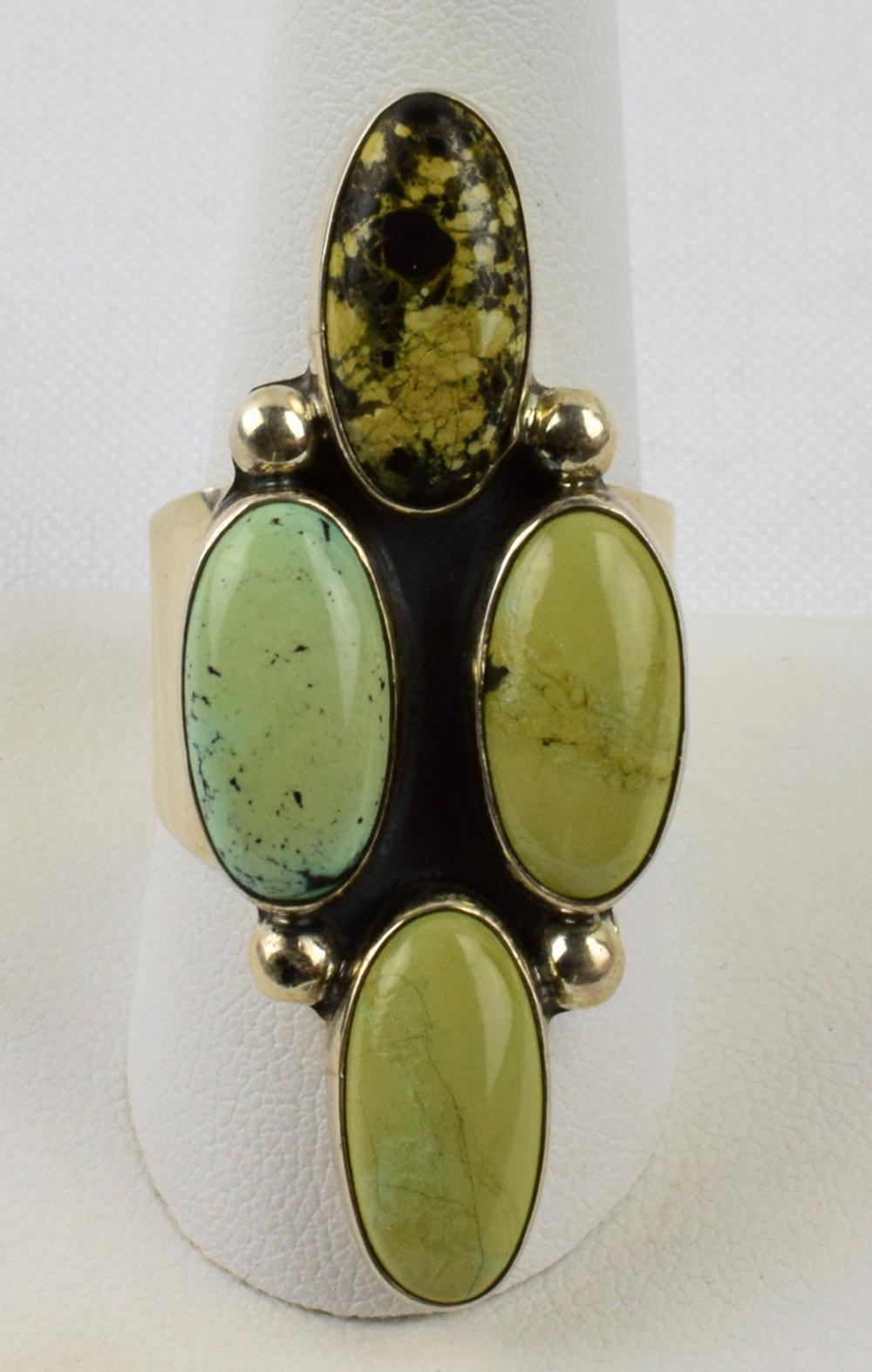 Navajo Sterling Silver Green Turquoise Ring