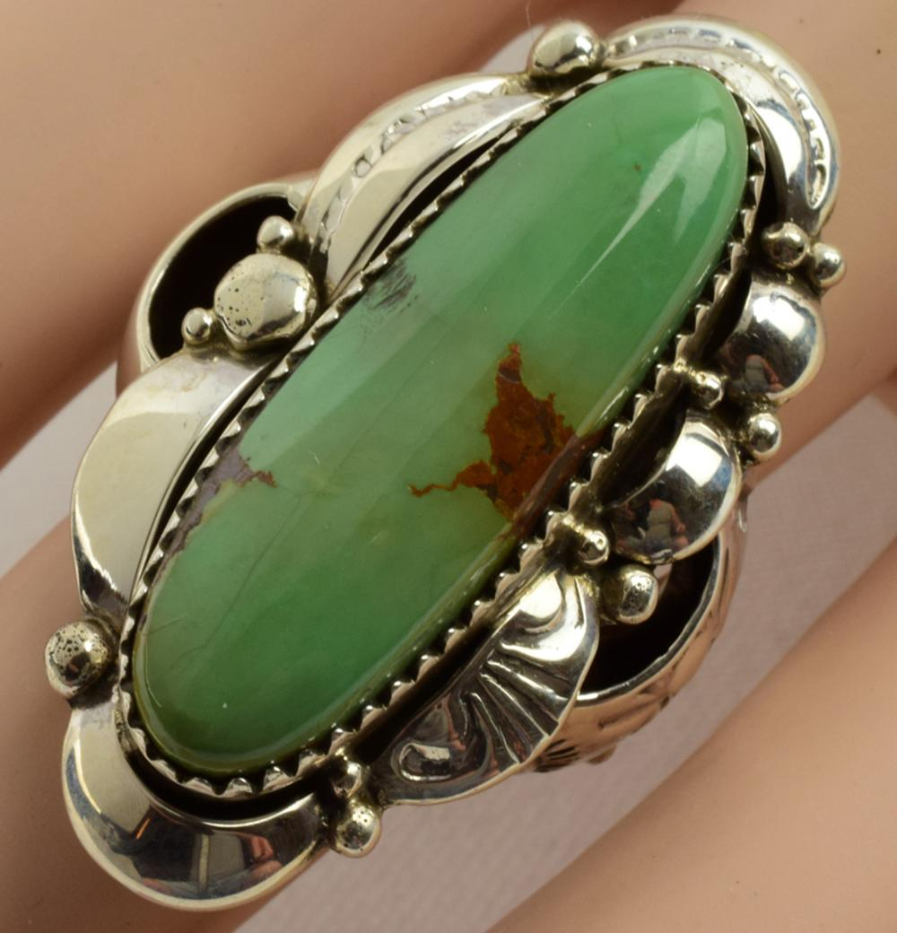 Native American Sterling Turquoise and Repousse Ring