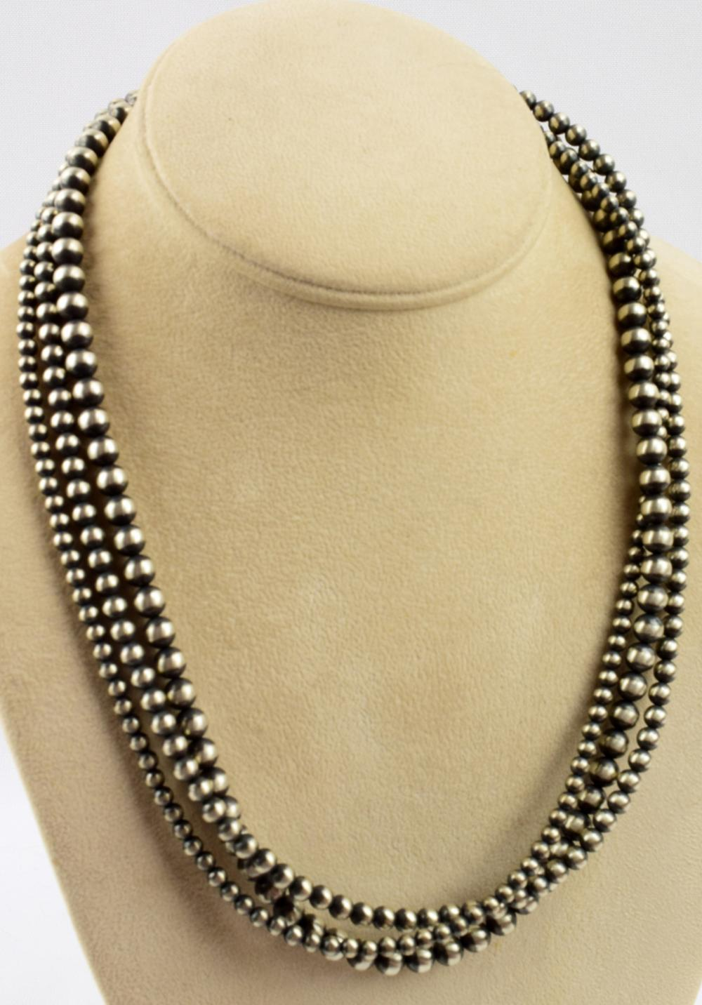 Navajo Sterling 3 Strand Bench Bead Necklace - 20 In.