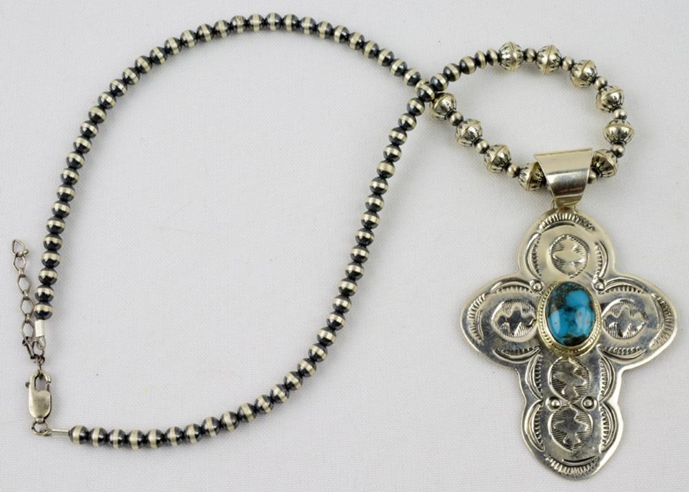 Navajo Sterling Cross Necklace w/Round and Bench Beads