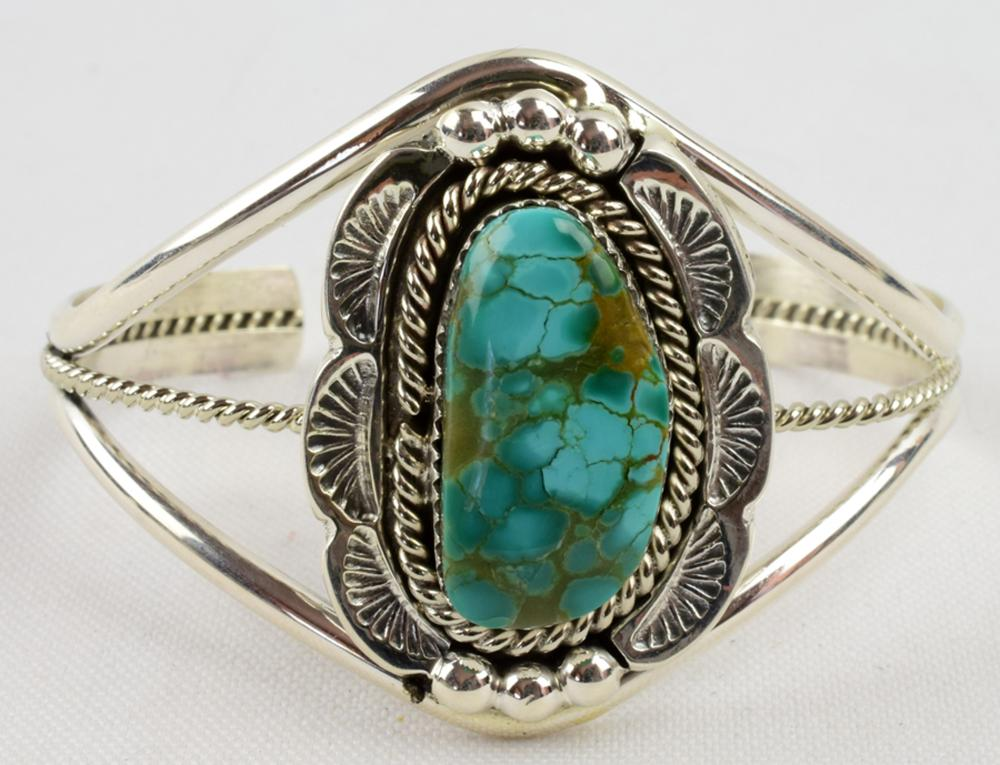 Native American Sterling Natural Turquoise Bracelet