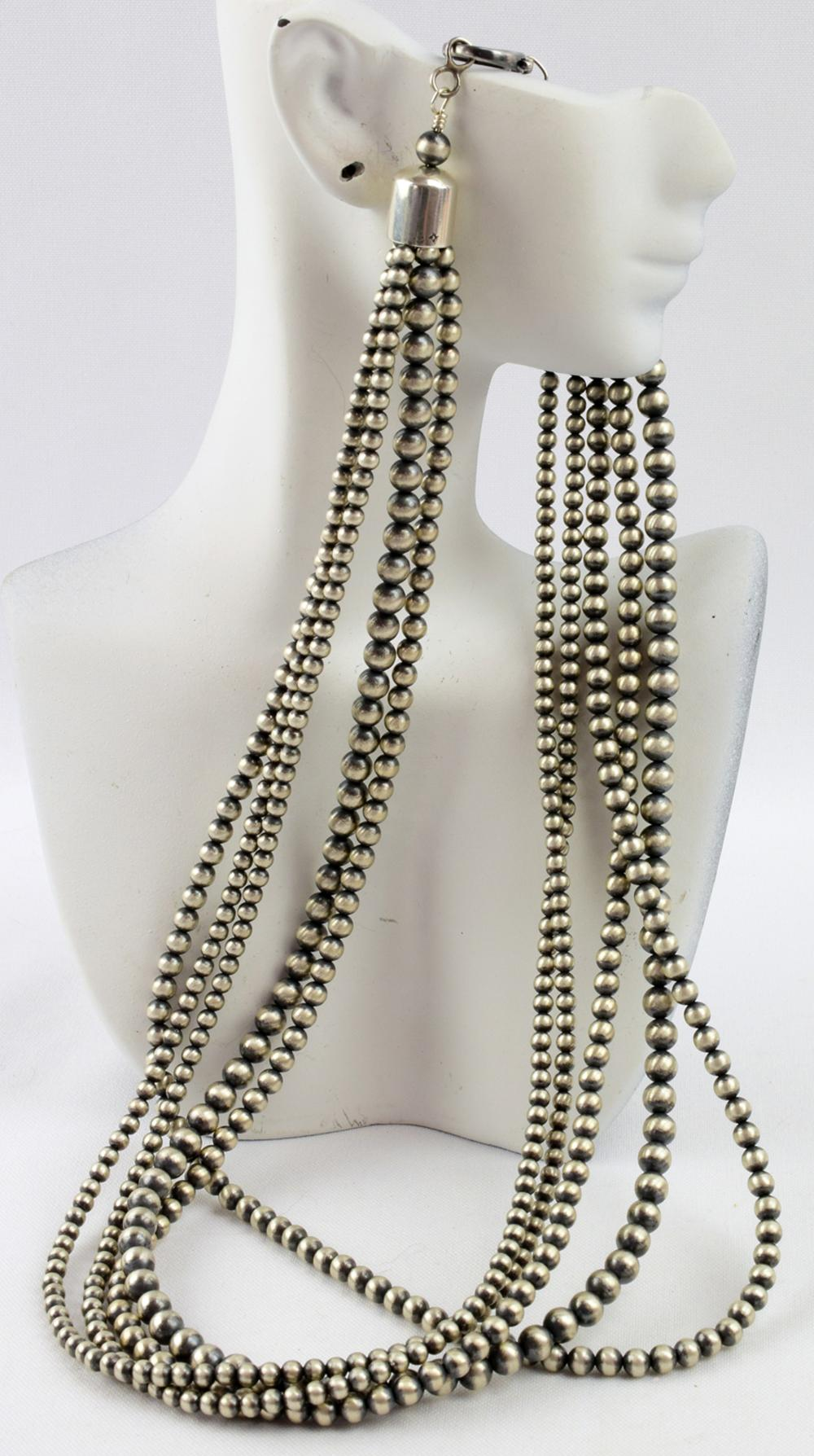 Navajo Sterling 5 Strand Bench Bead Necklace-24 in.