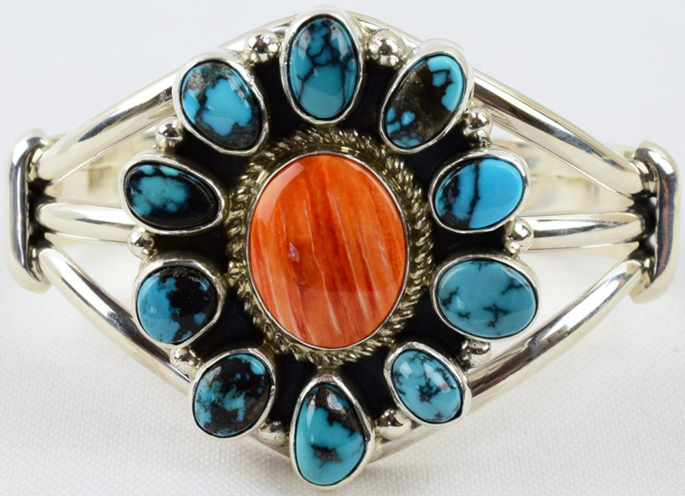 Navajo Masterpiece Sterling Turquoise/Spiny Oyster Cuff